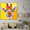 Giraffe Mouth Animal Cartoon Modern Framed Resemblance Photo Canvas Print for Kids Room Wall Tracery