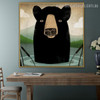 Black Bear Anime Animal Contemporary Modern Framed Painting Picture Canvas Print for Room Wall Drape