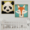 Panda and Tod Animal Animated Framed Resemblance Photo Canvas Print for Kids Room Wall Onlay