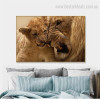 Lion and Cub Animal Modern Framed Painting Portrait Canvas Print for Room Wall Drape