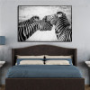 Zebras Animal Modern Framed Painting Picture Canvas Print for Bedroom Wall Outfit
