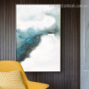 Dispersed Ink Abstract Minimalist Modern Framed Smudge Photo Canvas Print for Room Wall Decor
