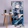 Dreamlike Convent Abstract Watercolor Framed Painting Portrait Canvas Print for Lounge Room Wall Decoration