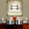 Tower Bridge Architecture City Vintage Framed Vignette Image Canvas Print for Dining Room Wall Getup