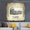 Colosseum Architecture City Vintage Framed Resemblance Image Canvas Print for Room Wall Finery