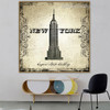 Empire State Building Architecture City Vintage Framed Artwork Photo Canvas Print for Room Wall Decoration