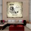 Pyramid of Khafre City Vintage Framed Effigy Image Canvas Print for Room Wall Decor