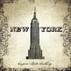 Empire State Building Architecture City Vintage Framed Smudge Portrait Canvas Print