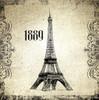 Eiffel Tower 1889 Architecture City Vintage Framed Vignette Image Canvas Print