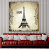Eiffel Tower 1889 Architecture City Vintage Framed Vignette Image Canvas Print for Room Wall Getup