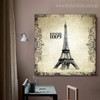 Eiffel Tower 1889 Architecture City Vintage Framed Vignette Image Canvas Print for Room Wall Decoration