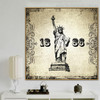 Statue of Liberty 1886 Architecture City Vintage Framed Portmanteau Picture Canvas Print for Room Wall Disposition