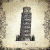 Leaning Tower of Pisa Architecture City Vintage Framed Artwork Picture Canvas Print