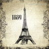 Eiffel Tower Architecture City Vintage Framed Portraiture Image Canvas Print