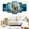 Wolves Animal Nature Modern Framed Painting Photo Canvas Print for Room Wall Getup
