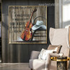 Cello Abstract Music Quote Modern Framed Smudge Portrait Canvas Print for Room Wall Drape