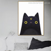 Black Cat Abstract Animal Modern Framed Likeness Portrait Canvas Print for Room Wall Decor