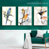 Cute Birdies Bird Modern Framed Vignette Picture Canvas Print for Room Wall Outfit