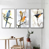 Cute Birdies Bird Modern Framed Vignette Picture Canvas Print for Room Wall Trimming