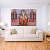 God Ganesh Religious Modern Framed Portmanteau Picture Canvas Print for Lounge Room Wall Tracery