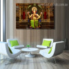 Godhead Ganesh Religious Modern Framed Portmanteau Picture Canvas Print for Room Wall Embellishment