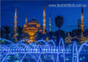 Blue Mosque Islamic Religious Modern Framed Smudge Photo Canvas Print