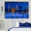 Blue Mosque Islamic Religious Modern Framed Smudge Photo Canvas Print for Room Wall Decor