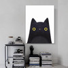 Black Pussy Abstract Animal Contemporary Framed Vignette Picture Canvas Print for Living Room Wall Ornament