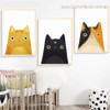 Cats Abstract Animal Contemporary Framed Vignette Image Canvas Print for Kids Room Wall Decor
