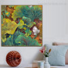 Lotus Sapling Botanical Watercolor Framed Smudge Portrait Canvas Print for Room Wall Flourish
