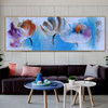 Dapple Petals Abstract Botanical Panoramic Modern Framed Portmanteau Picture Canvas Print for Room Wall Moulding
