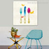 Spoon Knife Abstract Modern Framed Perspective Portrait Canvas Print for Room Wall Ornament