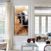 Plumed Girl Abstract Figure Framed Effigy Portrait Canvas Print for Room Wall Moulding