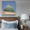 Green Dome Islamic Religious Modern Framed Resemblance Photo Canvas Print for Room Wall Disposition