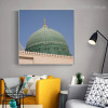 Green Dome Islamic Religious Modern Framed Resemblance Photo Canvas Print for Room Wall Ornament