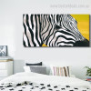 Abstract Zebra Animal Framed Smudge Picture Canvas Print for Room Wall Getup