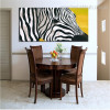 Abstract Zebra Animal Framed Smudge Picture Canvas Print for Dining Room Wall Decor