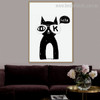 Black Moggy Calligraphy Animal Modern Nordic Framed Painting Photo Canvas Print for Room Wall Outfit