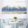 Beach Seascape Abstract Panoramic Modern Framed Vignette Picture Canvas Print for Dining Room Wall Decor
