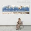 Beach Seascape Abstract Panoramic Modern Framed Vignette Picture Canvas Print for Room Wall Garniture
