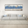 Beach Seascape Abstract Panoramic Modern Framed Vignette Picture Canvas Print for Room Wall Molding