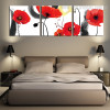 Red Poppy Buds Botanical Watercolor Framed Effigy Portrait Canvas Print for Bedroom Wall Outfit