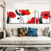 Red Poppy Buds Botanical Watercolor Framed Effigy Portrait Canvas Print for Room Wall Decor