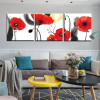Red Poppy Buds Botanical Watercolor Framed Effigy Portrait Canvas Print for Room Wall Getup