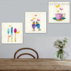 Dapple Utensil Abstract Modern Framed Perspective Photo Canvas Print for Dining Room Wall Getup