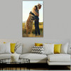 Tiger Hug Person Abstract Animal Contemporary Framed Scheme Photo Canvas Print for Room Wall Outfit