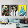 Human Faces Abstract Figure Modern Framed Painting Shot Canvas Print for Room Wall Decoration