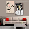 Delusive Visage Abstract Figure Modern Framed Scheme Picture Canvas Print for Room Wall Garniture