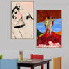 Abstract Masks Figure Modern Framed Smudge Portrait Canvas Print for Lounge Room Wall Drape