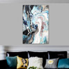 Blend Abstract Modern Framed Portmanteau Portrait Canvas Print for Room Wall Drape